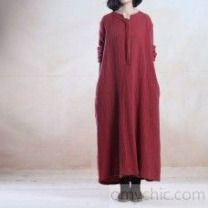 Brick red loose long linen dress maxis gown caftan plus size