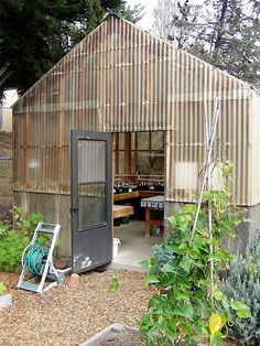 Playhouse corrugated fiberglass and wood