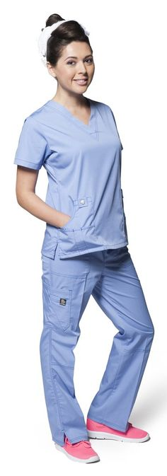 Dress A Med Women's Designer Double Stitched Multi-Pocket 2 Piece Scrubs Set