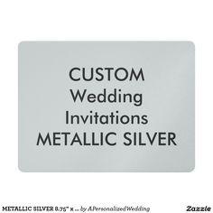 "METALLIC SILVER 8.75"" x 6.5"" Wedding Invitations"