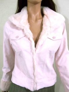 Arden B Fur Blush Pink Womens Jean Jacket