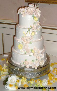 Round Wedding Cake, Cascading Gumpaste Flowers, Four Tiers