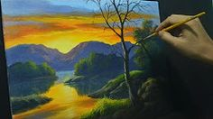 (40) easy rivers and waterfalls in acrylics - YouTube