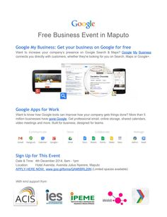 Google is coming to Moz! Want to increase your company's presence on Google Search & Google Maps? Want to know how Google tools can improve how your company gets things done? Join this event in Maputo on December 4th! Register now at this link - spaces limited! https://sites.google.com/site/mozbizevent/home