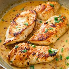 """""""Skillet Chicken with Creamy Cilantro Lime Sauce by @sallysbakeblog  Check out her blog! Link in her bio @sallysbakeblog yield: SERVES 4  One skillet and…"""""""