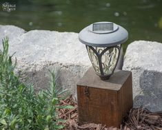 Diy cedar cube solar landscape lights diy solar outdoor lights how to cle. Maria B, Diy Solar, Backyard Lighting, Outdoor Lighting, Lighting Ideas, Landscape Lighting Design, Garden Crafts, Garden Art, Dyi Crafts