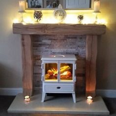 Fantastic Pictures oak Fireplace Mantels Style Heavily Worked Oak Fire Surround with Beautiful White Stove Electric Stove Fireplace, Oak Beam Fireplace, Log Burner Fireplace, Faux Fireplace Mantels, Tv Over Fireplace, Home Fireplace, Fireplace Surrounds, Fireplaces, Mantle