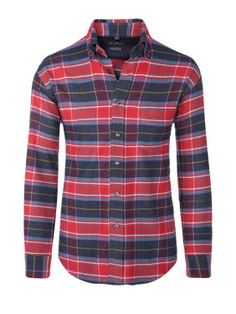 Weiches Flanellhemd von TOM RUSBORG - entdeckt bei HIRMER #shirt #flannel #men #check #red #blue #hirmermunich #colours #soft #FW13