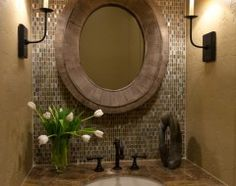 For the small bathroom near entryway of house--love the tile and lighting!