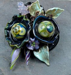 Black Pearl and Triton Lampwork Bead Brooch by tkhenry on Etsy, $125.00