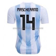 Billiga Fotbollströjor Argentina VM 2018 Javier Mascherano 14 Hemmatröja