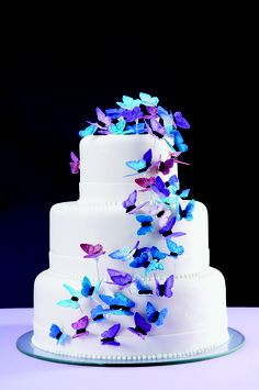 Such a beautiful cake! Cake Icing, Fondant Cakes, Eat Cake, Cupcake Cakes, Pretty Cakes, Cute Cakes, Beautiful Cakes, Butterfly Wedding Cake, Butterfly Cakes
