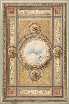Design for a carved and painted ceiling with clouds and ducks in the central circular panel Jules-Edmond-Charles Lachaise  Date: 1830–97