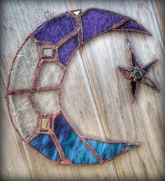 Hand Crafted Stained Glass Window Moon and Star Stained Glass Church, Stained Glass Ornaments, Faux Stained Glass, Stained Glass Lamps, Stained Glass Projects, Fused Glass Art, Glass Wall Art, Stained Glass Windows, Window Glass