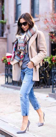 #winter #fashion / tartan scarf + camel coat