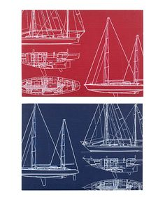 Look at this Sailboat Blueprint Wrapped Canvas Set on #zulily today!