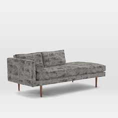Monroe Mid-Century Left Arm Chaise Lounger, Leafed Tapestry, Silver