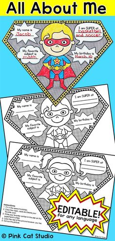 """All About Me Superhero Pennants: Perfect for the first day of school! Your students will have a blast with this fun Superhero theme """"All About Me"""" activity. There are 4 superheroes to choose from, two boys and two girls. An editable PowerPoint is included so that you can change the text to any language and even change what your students will write about. The completed pennants will look fantastic on a bulletin board and you can even string them together and hang them in your classroom."""