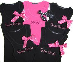 Bride and Team Bride Tank Tops with Polka Dot Ribbons $24.95; bride t-shirt, bridesmaid tank top, bachelorette party, wedding apparel, custom tank tops, #wedding