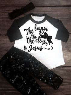 The bigger the bow the closer to Jesus, religious, Christian, bow, big bow, baby, toddler, baseball tee, raglan tee, onesie, glitter, girl by Shop419 on Etsy