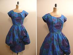 Vintage 1950s Dress 50s Blue and Purple by CreatedAndCollected, $225.00