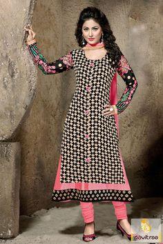 Grab bold fashion with this pretty Akshara Hina Khan pink black santoon churidar salwar suit online shopping with cash on delivery in India. Get wholesale supplier and exporter Shree Feb salwar kameez online collection at pavitraa.in. http://www.pavitraa.in/store/partywear-salwar-suit/?utm_source=pk&utm_medium=pinterestpost&utm_campaign=25Dec #salwarsuits, #salwarkameez, #dresses, #designersalwarsuits, #vollywoodsalwarsuits, #anarkalisalwarsuits, #straightsalwarsuits, #embroiderysalwarsuits