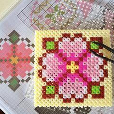 Flower coaster perler beads by MamaBlissisMe