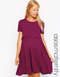 Image 1 ofASOS Maternity NURSING Dress With T-Shirt Layer