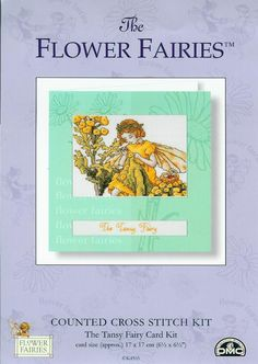 Cross stitch - fairies: Tansy fairy - Cicely Mary Barker - close-up segment (free pattern with chart)