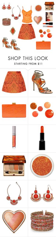 Orange Crush by siriusfunbysheila1954 on Polyvore featuring Alice + Olivia, Jimmy Choo, Edie Parker, Cathy Waterman, Clarins, Giorgio Armani, Too Faced Cosmetics, By Terry and Maybelline
