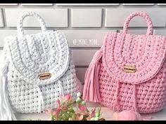 Mochilas tejidas a crochet - YouTub ni yo ene Crochet Backpack, Bag Crochet, Crochet Shell Stitch, Crochet Diy, Backpack Pattern, Crochet Handbags, Crochet Purses, Crochet Gifts, Mochila Crochet