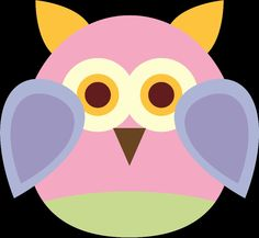 Yellow pink purple and green owl