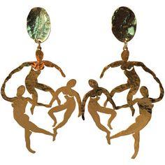 Patrick Retif Vermeil Matisse-inspired Dancing Figures Chandelier Earrings