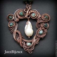 Copper pendant with jasper and large pearl
