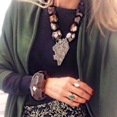 #ootd #outfit #style #wood #drusy #raw #stone #mariadolores #jewelry #fashion #militar #necklace #neckpiece #bracelet #statement #jewelery #accessories #adornment