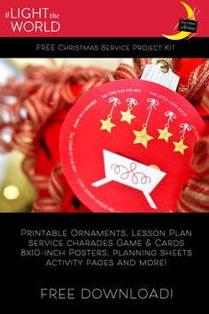 This Christmas service kit is designed to help families plan and carry out anonymous service to help this Christmas season. Primary Christmas Gifts, Christmas Gift Tags, Christmas Countdown, Family Christmas, Christmas Holidays, Christmas Ideas, Christmas Ornament, Holiday Ideas, Christmas Crafts