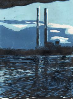 Lino cut - colour reduction of the towers from Sandymount Beach, Dublin. by John Hibbert
