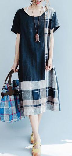 ORIGINAL BLACK LINEN SUMMER DRESS PATCHWORK MAXI DRESS SHORT SLEEVE STYLISH SUNDRESS