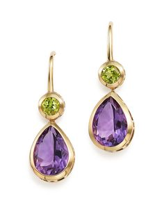 Amethyst and Peridot Drop Earrings in 14K Yellow Gold