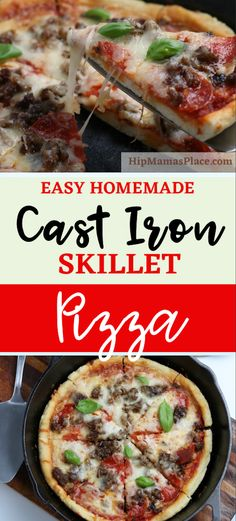 This quick, easy homemade Cast Iron Skillet Pizza recipe is the best homemade pizza you'll ever make! Get my recipe and try it today! #skilletpizza #castironpizza #homemadepizza #pizzalover #NationalPizzaMonth #easypizzarecipe #pizzarecipe #easypizza #hipmamasplace Cast Iron Skillet Pizza, Delicious Dinner Recipes, Yummy Food, Cast Iron Recipes, Homemade, Grilling Recipes, Smoothie Recipes, Italian Recipes, Breakfast Recipes