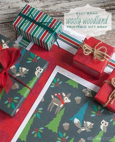 Wooly Woodland Printable Gift Wrap
