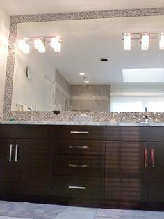 Contemporary Bathroom // Good idea to put backsplash around the entire mirror. Easy clean.