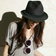 black hat for women | ... hat for women jazz hat Britpop hat black straw hat beach hat for lady #HatsForWomenHipster