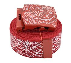 AccMall Men's Canvas Military Bandana Pattern Web Belt & Buckle 60 Inches Red: This Bandana Pattern Belt is sturdy and long lasting. It comes cut at 60 inches, but it can be cut to size. These are our most popular belts. Bandana Outfit, Red Bandana, Bandana Print, Bandana Tattoo, Chicano, Mens Gucci Belt, Bandana Crafts, Tribal Shirt, Brown Pride