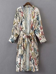 Shop Floral Print Longline Kimono With Self Tie online. SHEIN offers Floral Print Longline Kimono With Self Tie & more to fit your fashionable needs. Kimono Floral, Floral Dresses, Kimono Cardigan, Gilet Kimono, Kimono Top, Kimono Shirt, Long Cardigan, Kimono Vintage, Vintage Floral