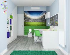 Fototapete Fußballstadion und Pastellblaue Wandfarbe