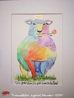 """No. 027 der wandklex-Unikatserie """"Ich war schon immer das Bunte Schaf der Familie"""" - nummerierte Einzelstücke! Ihr eigenes Schaf können Sie als Ihr Designerstück von wandklex® Ingrid Heuser, Ratzeburg, Germany bestellen:  im kleinen Klexshop bei DaWanda auf http://de.dawanda.com/shop/wandklex ©  Kunstatelier wandklex Ingrid Heuser, D-Ratzeburg Besuchen Sie mich auch auf facebook: https://www.facebook.com/wandklex"""