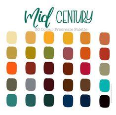 Retro Color Palette, Colour Pallette, Colour Schemes, Beach Color Schemes, Retro Colours, Colour Combinations, Ipad Art, Mid Century Modern Colors, Mid Century Design