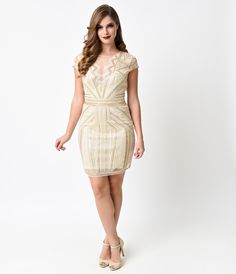 1920s Style Beige Beaded Tulle Deco Mini Dress $78.00 AT vintagedancer.com