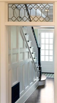 Beautiful leaded glass window inside a historic home. Leaded glass can be incorporated into more modern homes, too! Leaded Glass Windows, Transom Windows, Glass Door, Ceiling Windows, Traditional Staircase, Grades, Foyer Decorating, Wood Detail, Home Fashion